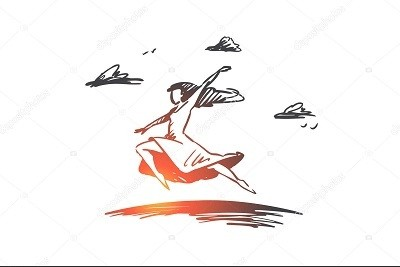 Freedom, happiness, woman, fly, love concept. Hand drawn isolated vector.